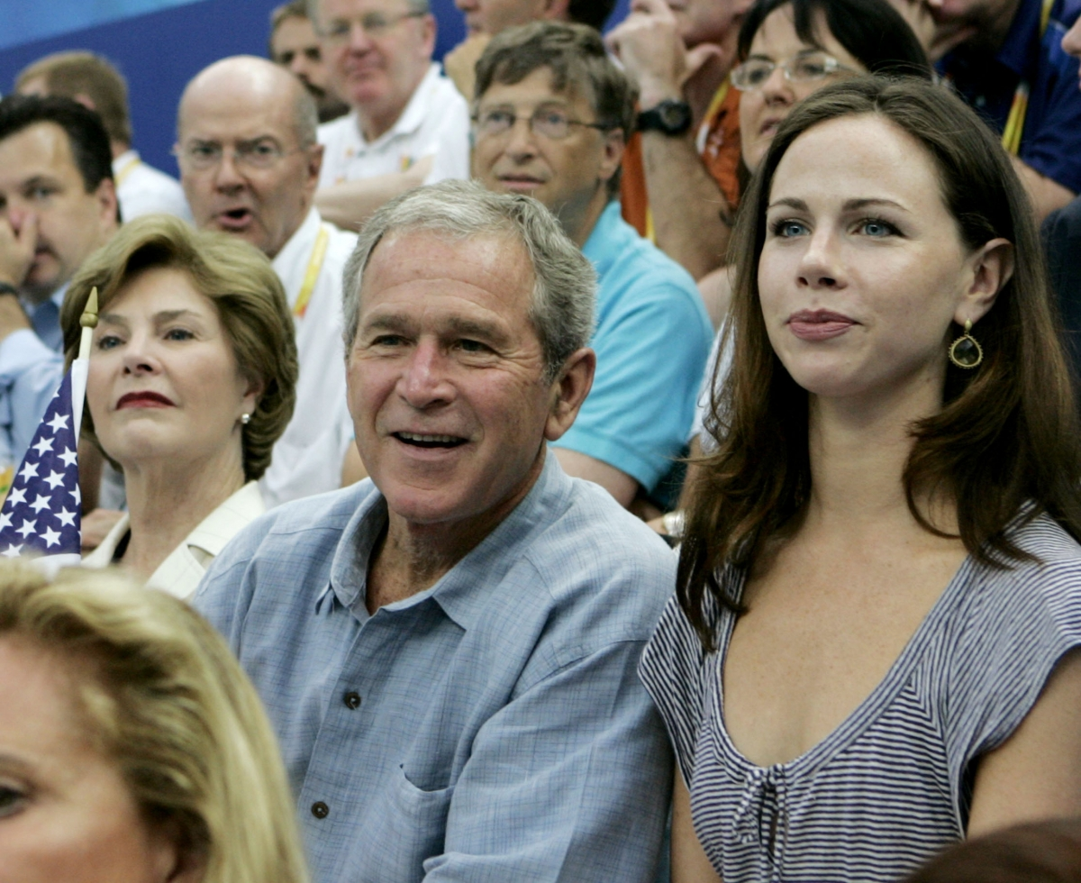 George W Bush with his daughter barbara at the 2008 Beijing Olympics.
