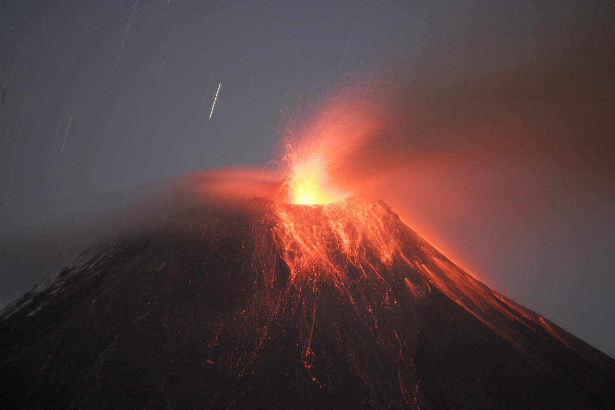 "The Tungurahua volcano, which means ""Throat of Fire"" in Ecuador's native Quechua language, is one of eight active volcanoes in the Andean nation"