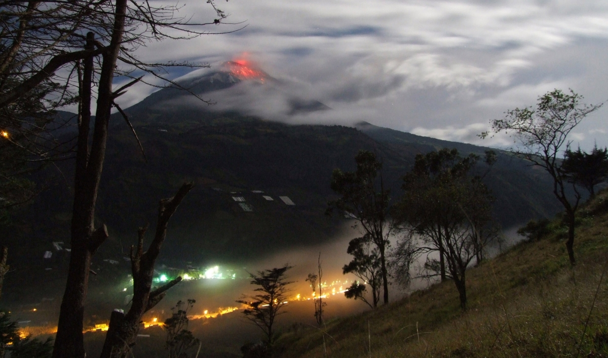 The Tungurahua volcano erupted in Banos, Ecuador on 1 February 2014