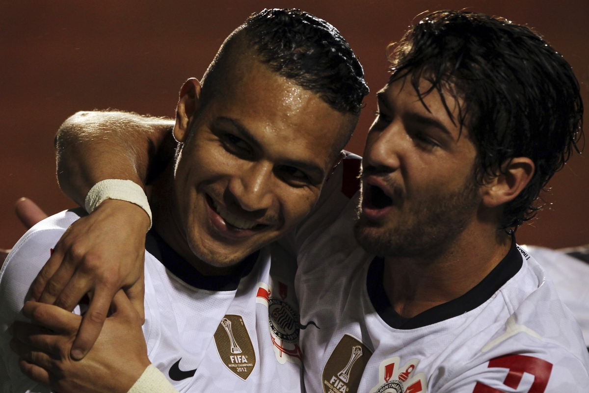 Pato (left) and Guerrero celebrate during happier times for Corinthians