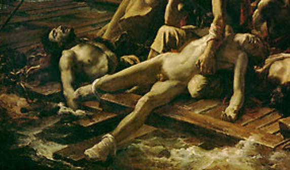 Section of Raft of the Medusa showing starving sailors cast adrift on the seas