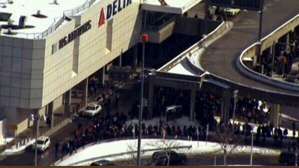 Picture of LaGuardia airport being evacuated