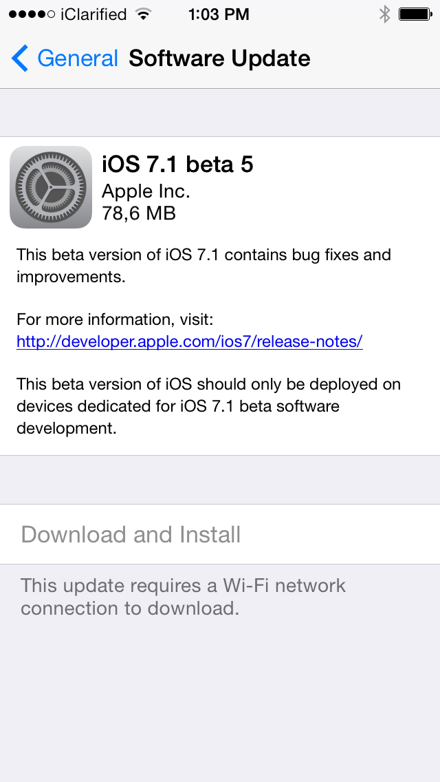 Apple Releases iOS 7.1 Beta 5 for Developers with New Bug-Fixes and Improvements [Download/Install]