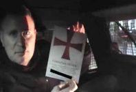 Paul Golding inside armoured Land Rover on \'Christian Patrol\' to the East London Mosque