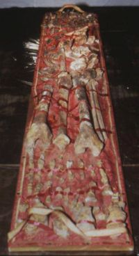 Charlemagne's bones from his sarcophagus in Aachen Cathedral, Germany