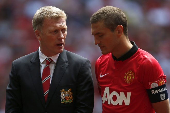 David Moyes and Nemanja Vidic