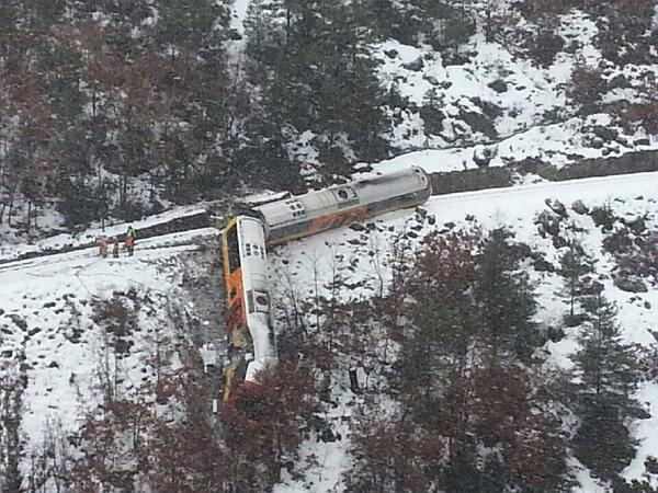 A boulder smashed into the passenger train killing two and injuring 30