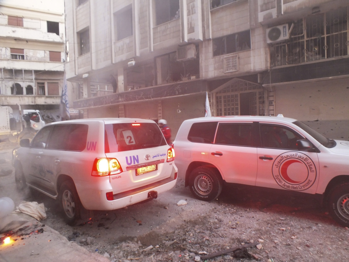 Syria aid convoy attack in Homs