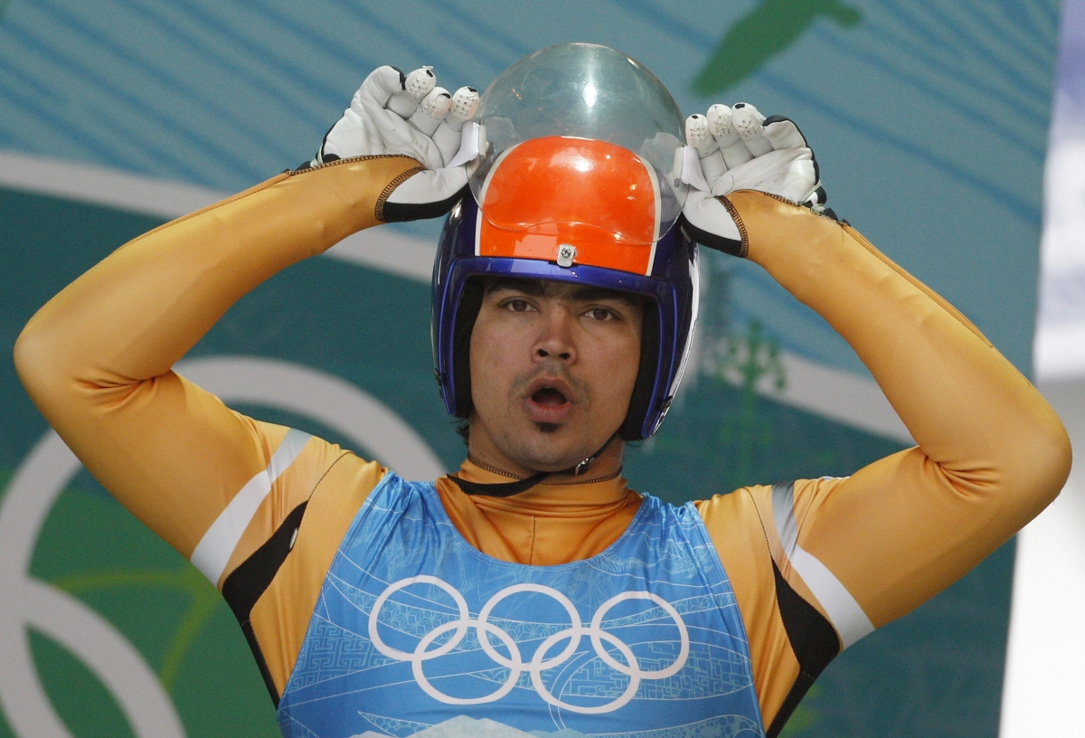 Shiva K.P. Keshavan of India prepares to start a training run for the men's singles luge