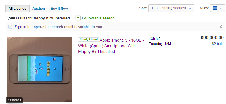 Flappy Bird on eBay