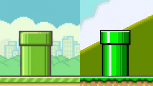 Compare Flappy Bird Pipes with Super Mario Pipes