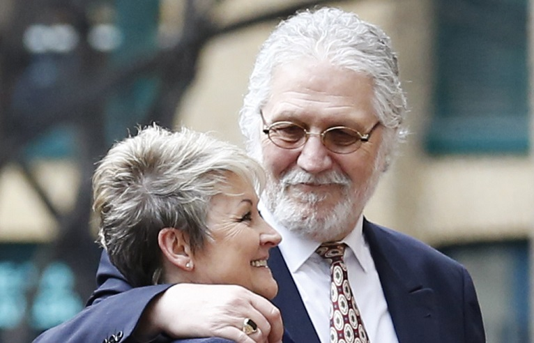 Dave Lee Travis with wife Marianne outside Southwark Crown Court as jury retired to consider verdicts