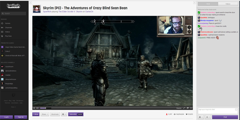 Twitch in Action: User Spamfish playing Skyrim live