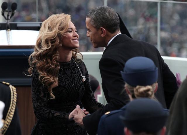 US President Barack Obama greets singer Beyonce