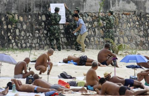 China naked sunbathers