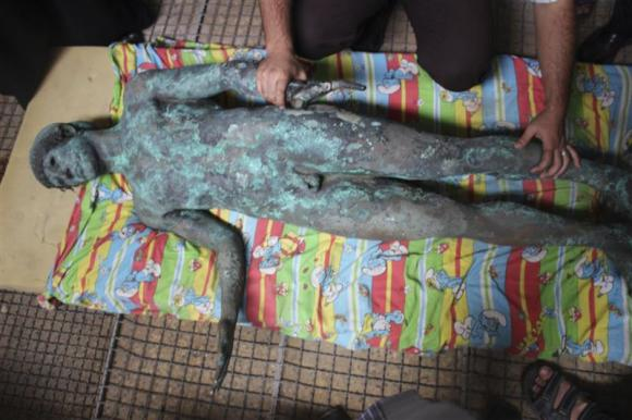 Apollo statue appeared in the Gaza Strip after a fisherman reportedly discovered it in the sea