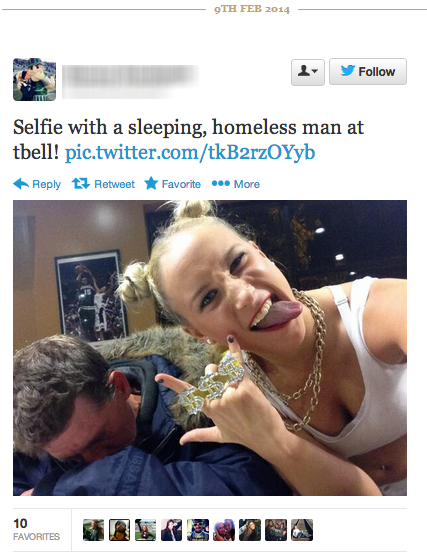 Selfie with homeless