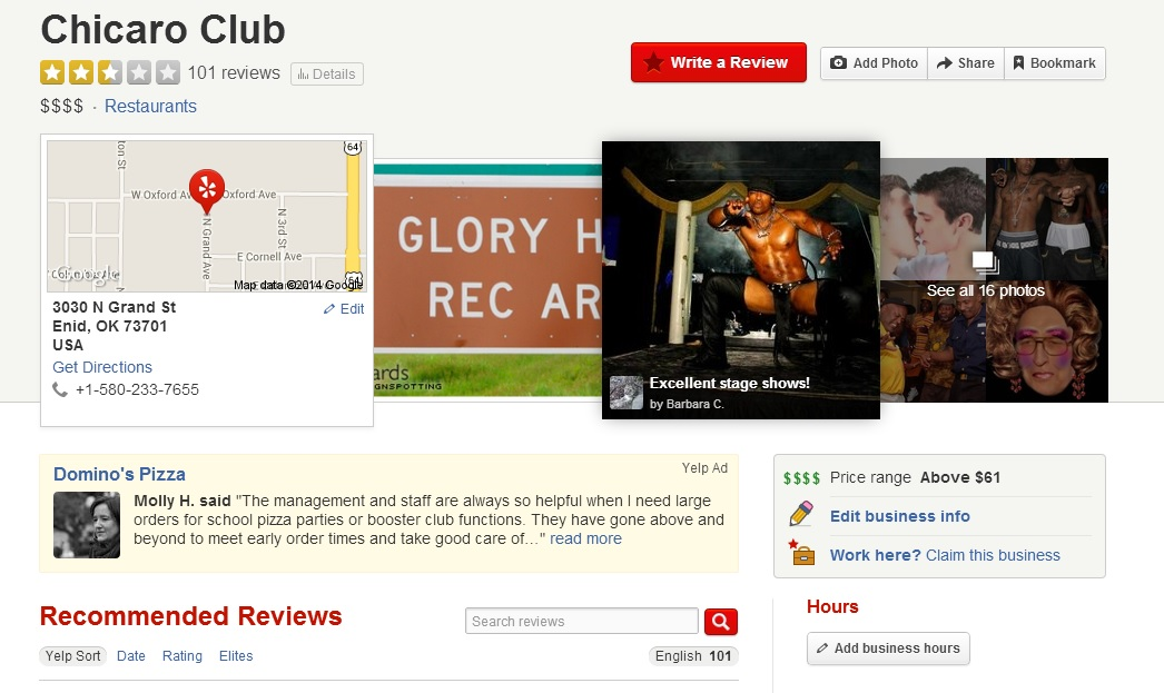 How the Chicarp Club appears on Yelp.com after spoof reviews