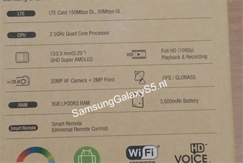 Galaxy S5 Specifications Leaked via Alleged Official Packaging [PHOTO]