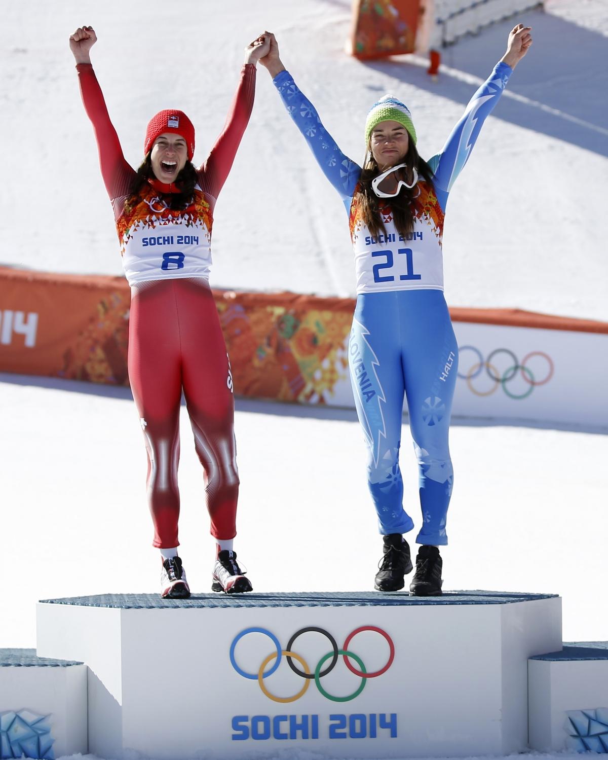 Tina Maze and Dominique Gisin