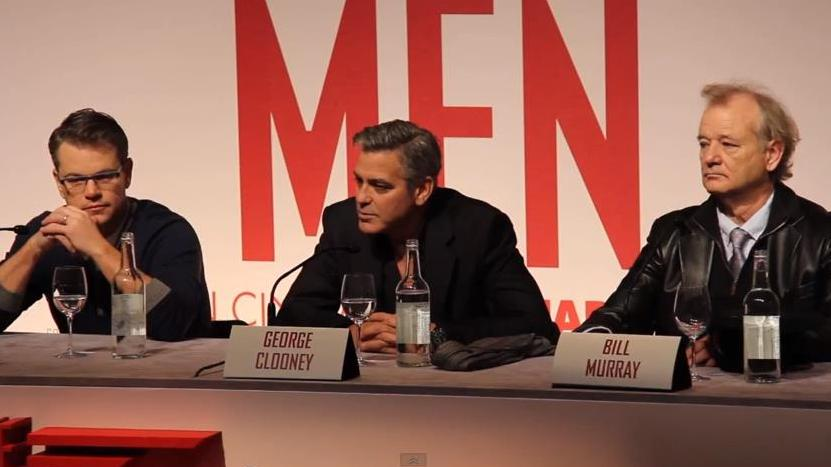 George Clooney, Matt Damon and Bill Murray Speak at The Monuments Men Press Conference.