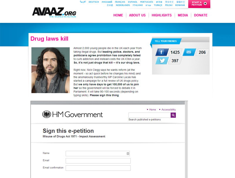 Russell Brand is campaigning with Avaaz for UK drug policies to be reformed