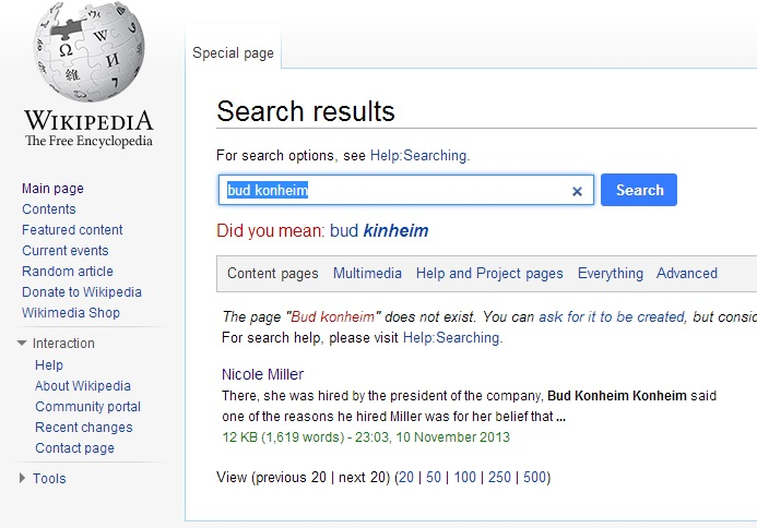 Bud Konheim Wikipedia page and lots of other records are missing