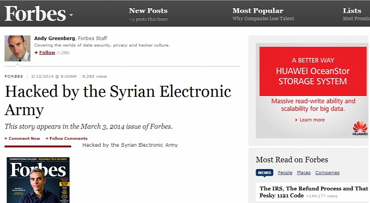Syrian Electronic Army Hacks Forbes.com