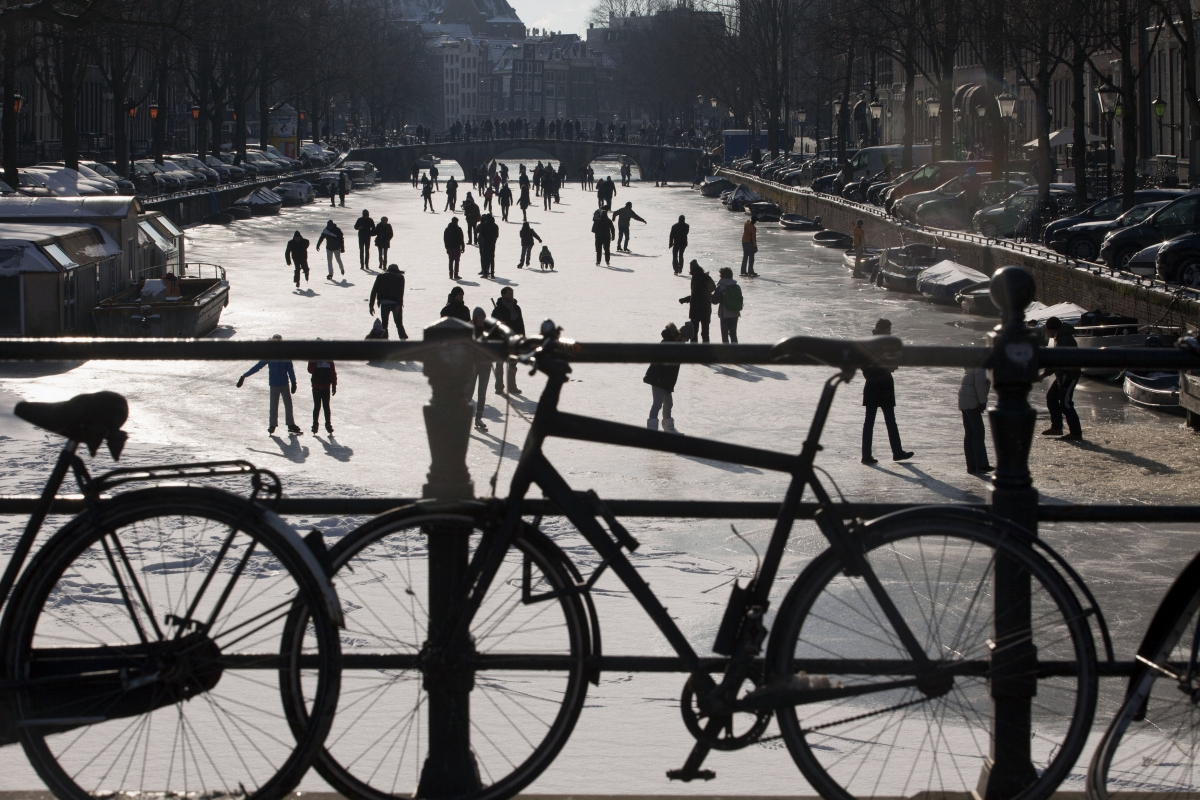 Frozen canal Amersterdam