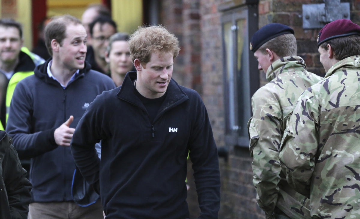 William and Harry in flood zone