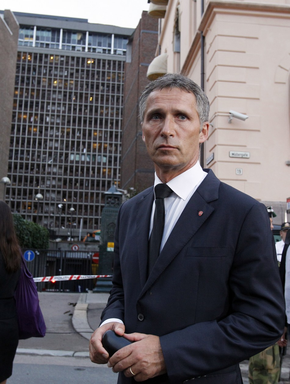 Norwegian Prime Minister Jens Stoltenberg visits the blast site in the capital Oslo