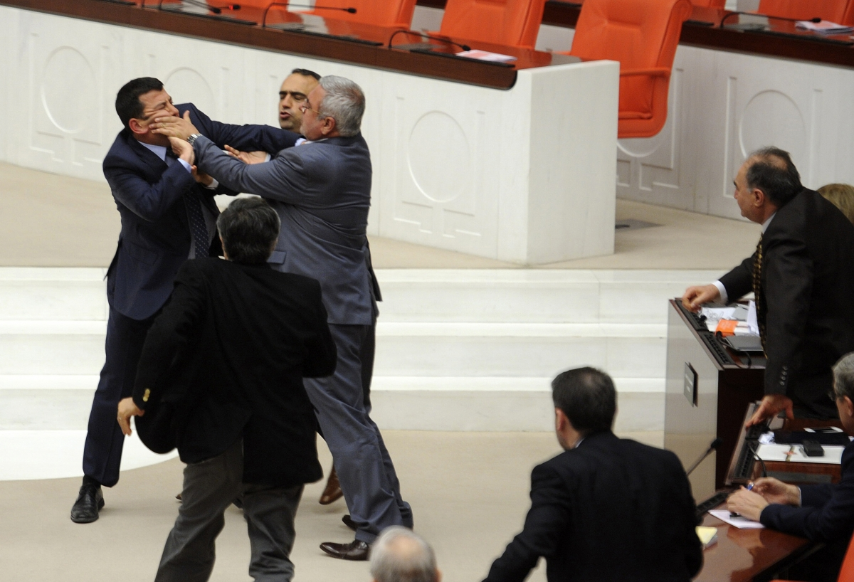 Earlier scuffles have broken out during debates at the Ankara parliament in 2012