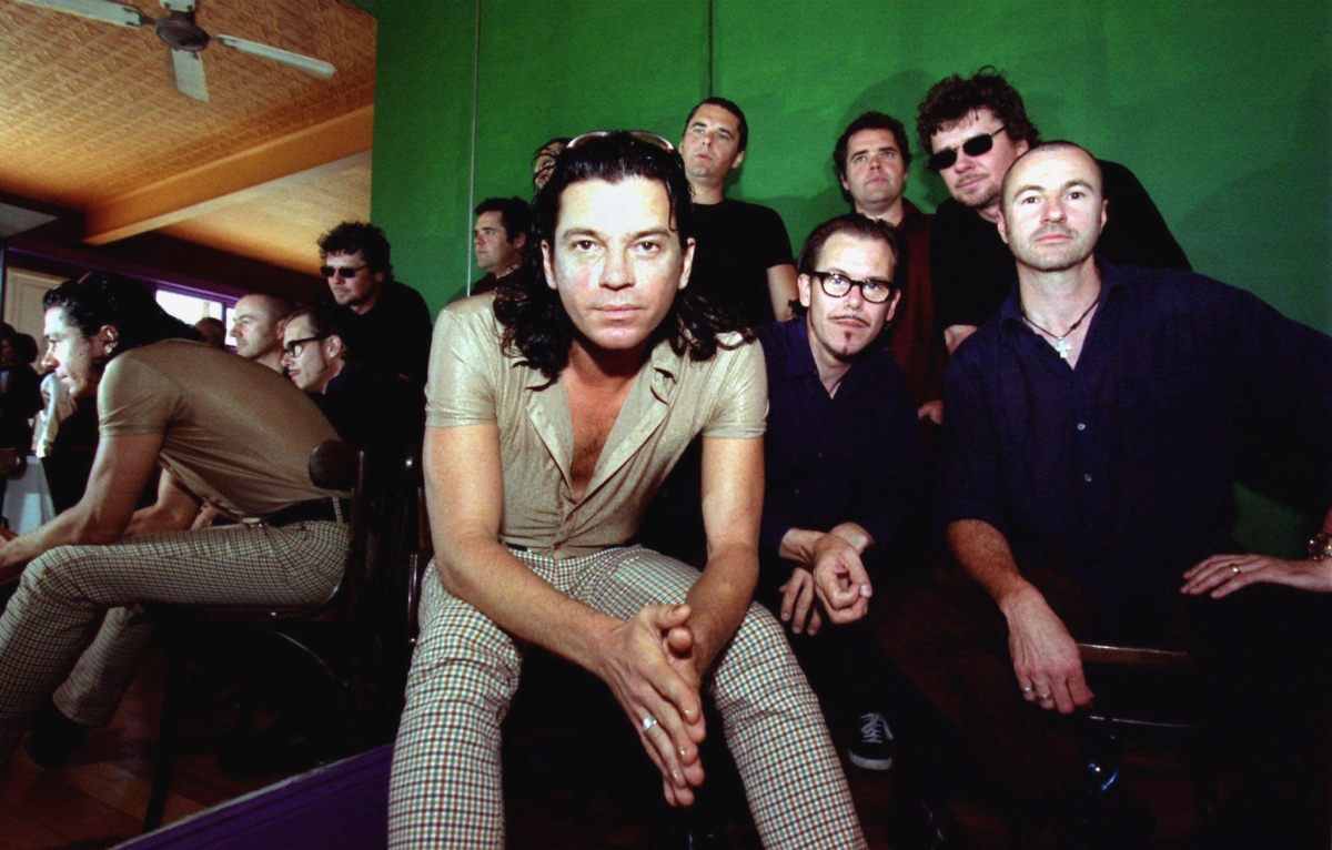 Australian band INXS, (L to R) lead singer Michael Hutchence, Jon Farriss, Kirk Pengilly, Andrew Farriss, Tim Farriss and Garry Beers