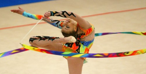 Alina Kabayeva in action at the European Rhythmic Gymnastic Competition in Kiev, 2004.