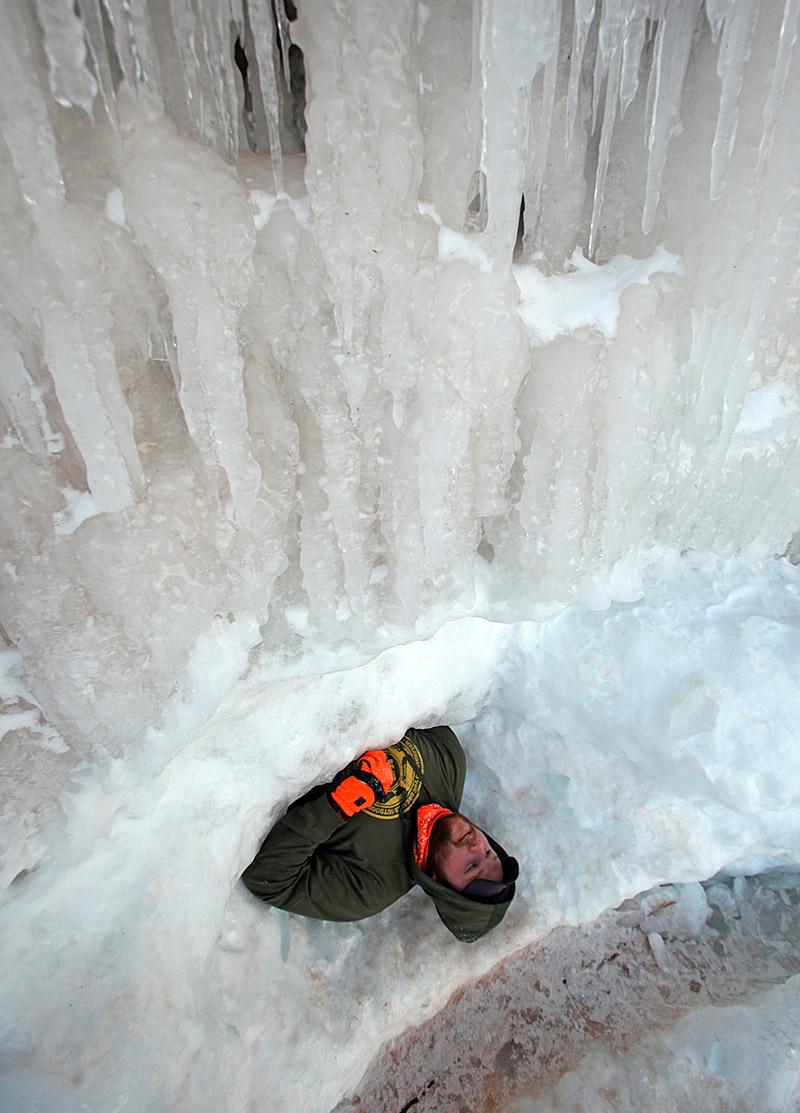 lying under ice