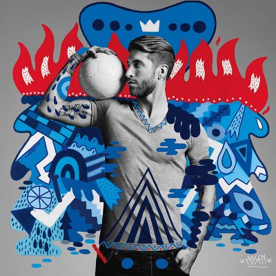 Sergio Ramos, by Spanish street artist Zosen