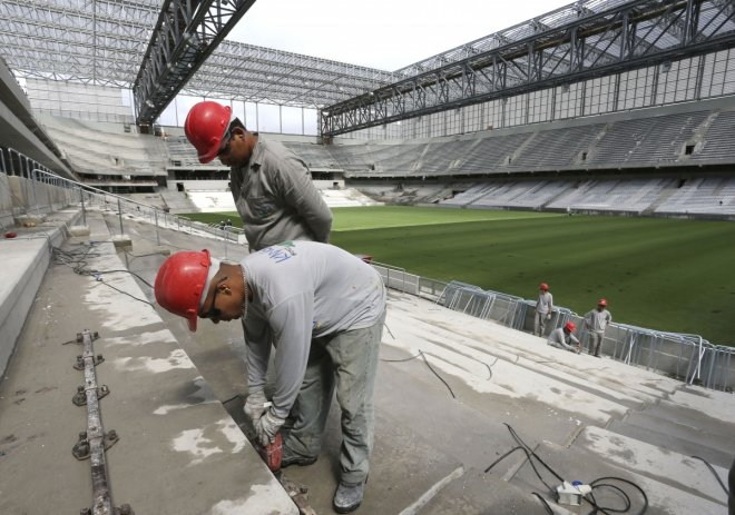 Work continues apace at Arena da Baixada to get it ready for the FIFA World Cup
