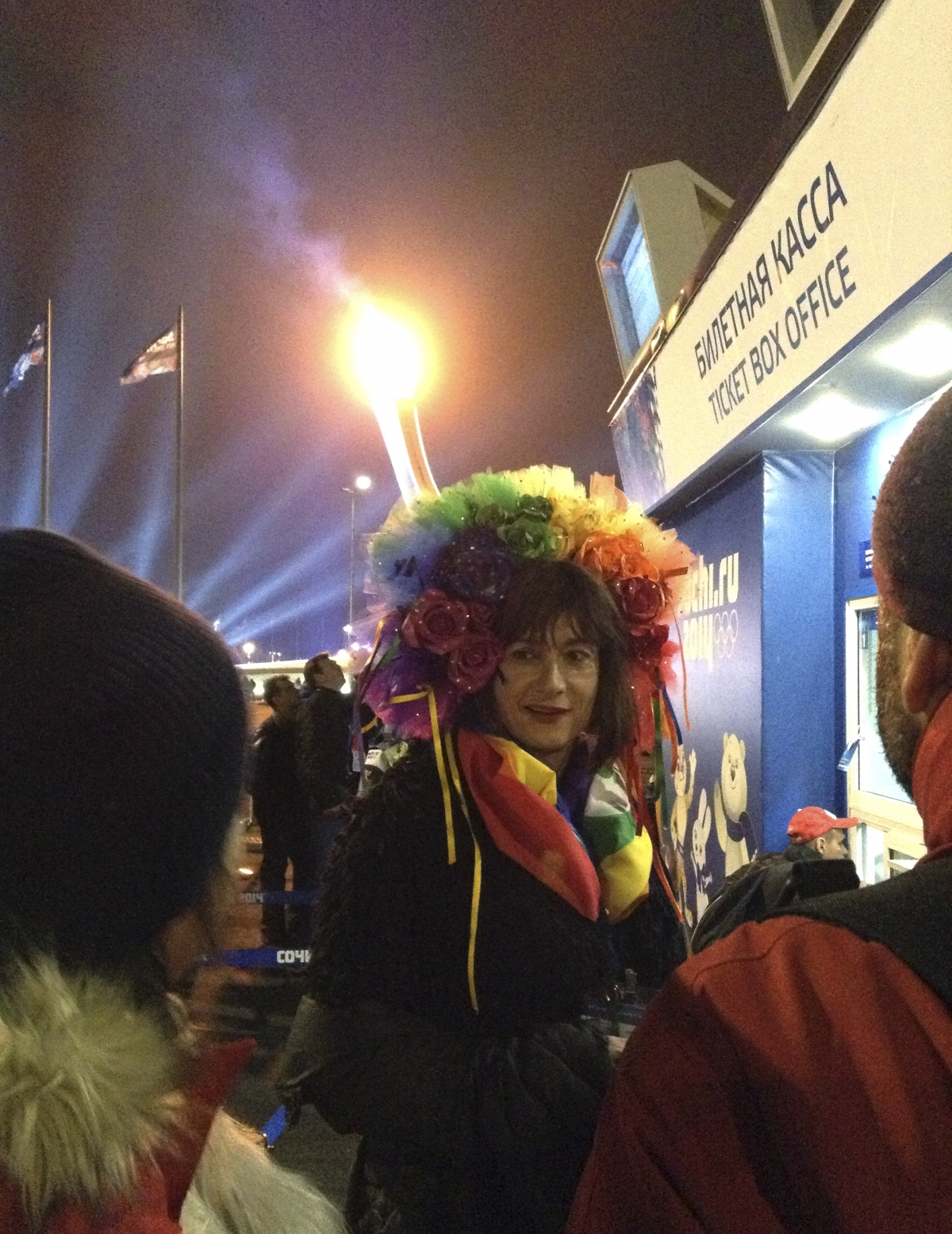 Transgender Vladimir Luxuria obtains a ticket before she was detained for the second time as she attempted to enter a women's ice hockey match in Shayba Arena at the 2014 Sochi Winter Olympics,