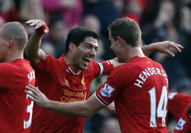 Luis Suarez and Jordan Henderson