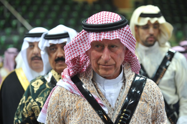 Prince Charles arrives to participate in the traditional Saudi dancing known as 'Arda' during the Janadriya culture festival at Der'iya in Riyadh