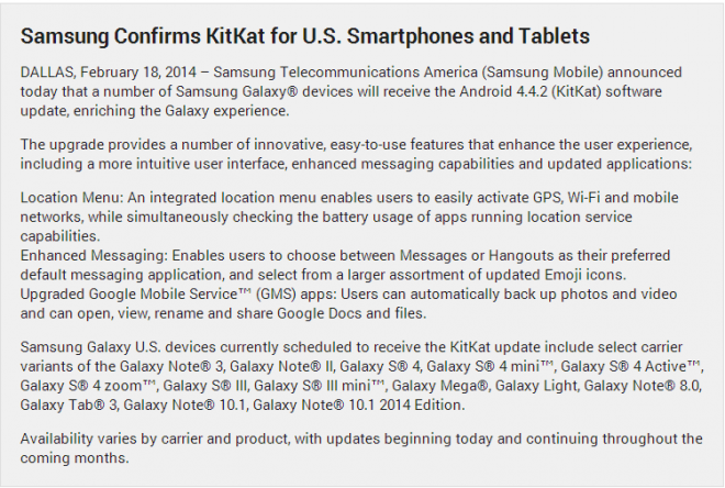 Samsung Starts Android 4.4 KitKat Roll Out for Multiple Galaxy Devices