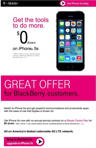 T-Mobile BlackBerry iPhone advert