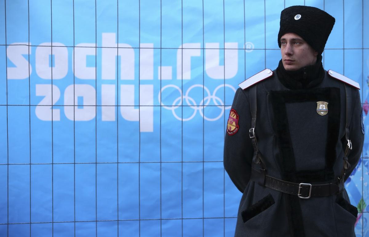A Russian Cossack stands guard