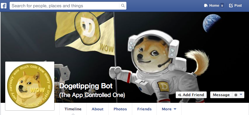 DogeTipping App Facebook Dogecoin