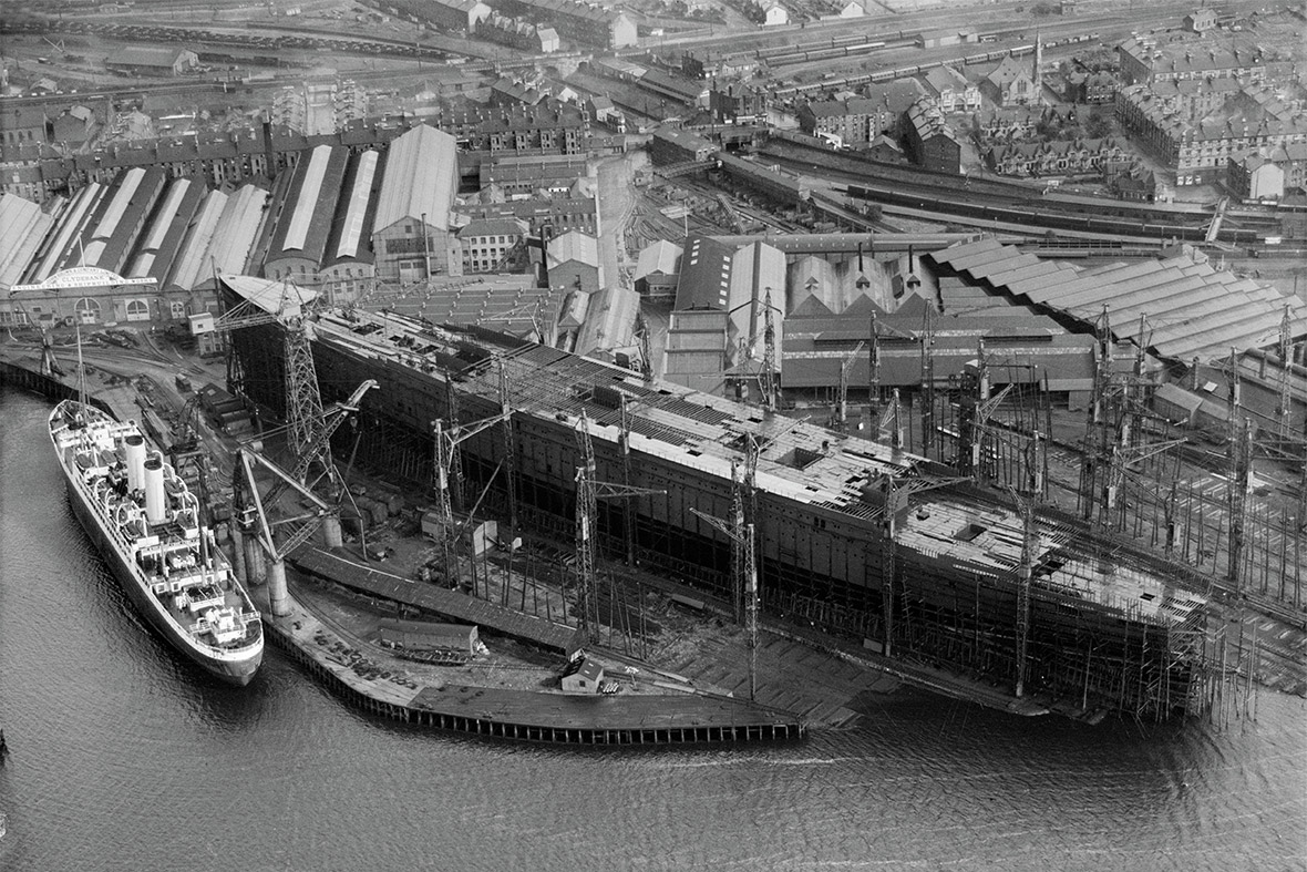 John Browns Shipyard, Clydebank, Queen Mary under construction.