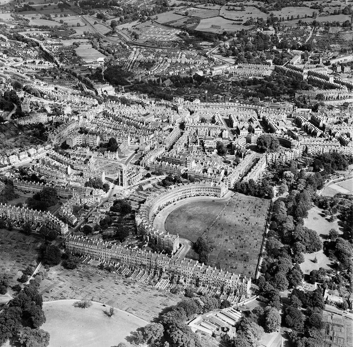 The Royal Crescent and environs, Bath, 1949