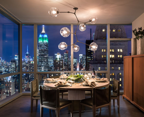All Yabu Pushelberg interiors offer dining areas with northern views overlooking the Empire State Building and Madison Avenue.