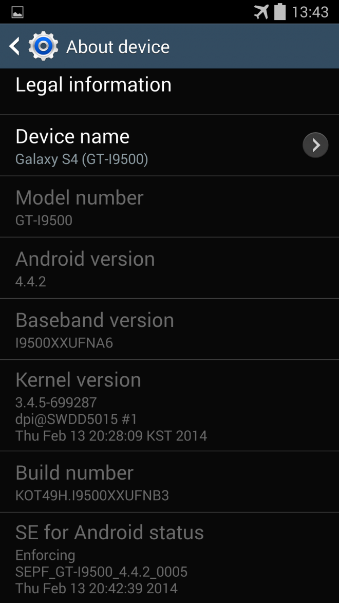 Samsung Rolls Out Android 4.4.2 I9500XXUFNB3 KitKat Update for Galaxy S4