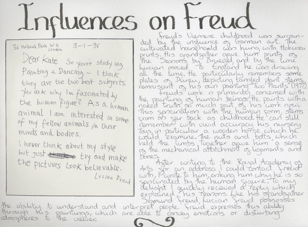 Lucian Freud letter