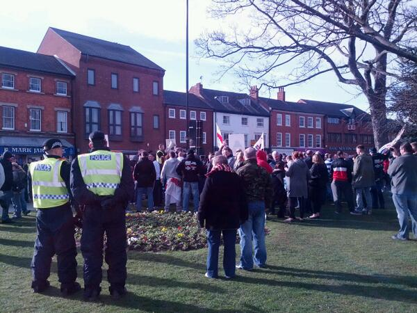 EDL protestors in Grantham